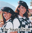 The Sinatra twins wearing argyle vests, argyle socks and knickers.