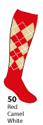 Argyle sock swatch 50 Red Camel White